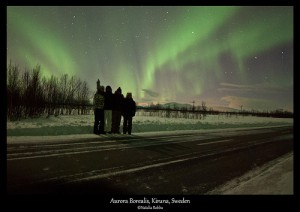 My family and I under the Aurora in Kiruna